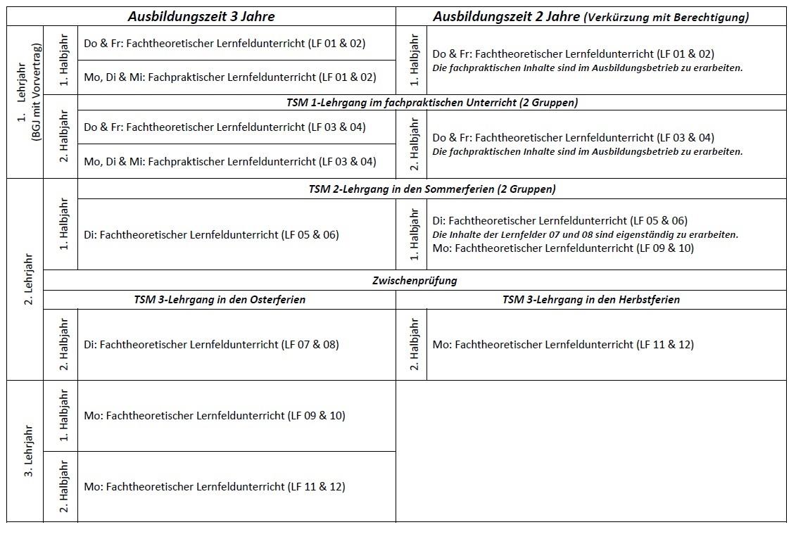 Unterrichtsorganisation Tischler Lehrjahr 1-3